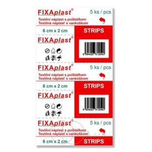 Náplast Fixaplast strip 6x2cm 5ks - II. jakost