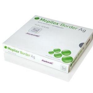 MEPILEX BORDER AG 10X12,5 CM, 5 KS, ANTIMIKROBIÁLNÍ PĚNOVÉ SAMOLEPÍC - II. jakost